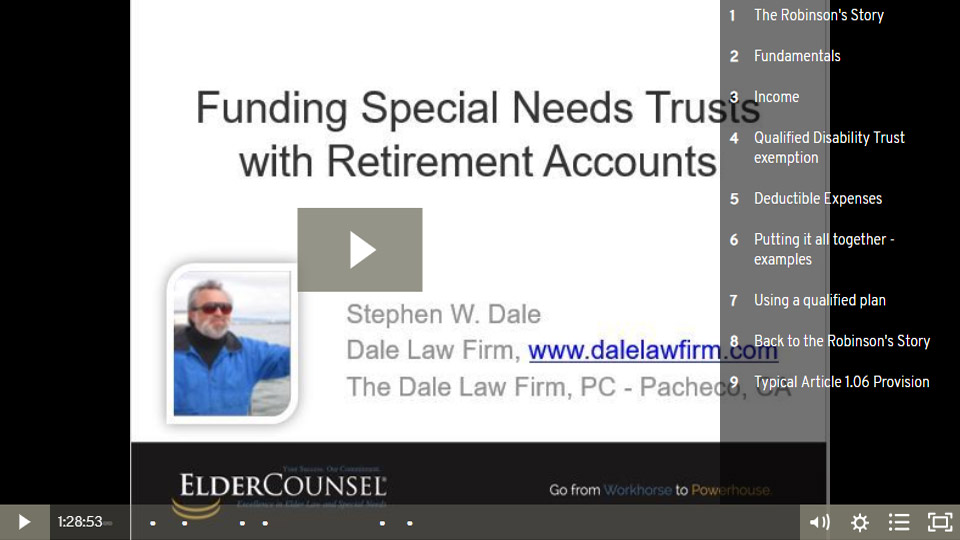 Funding Special Needs Trusts With Retirement Accounts
