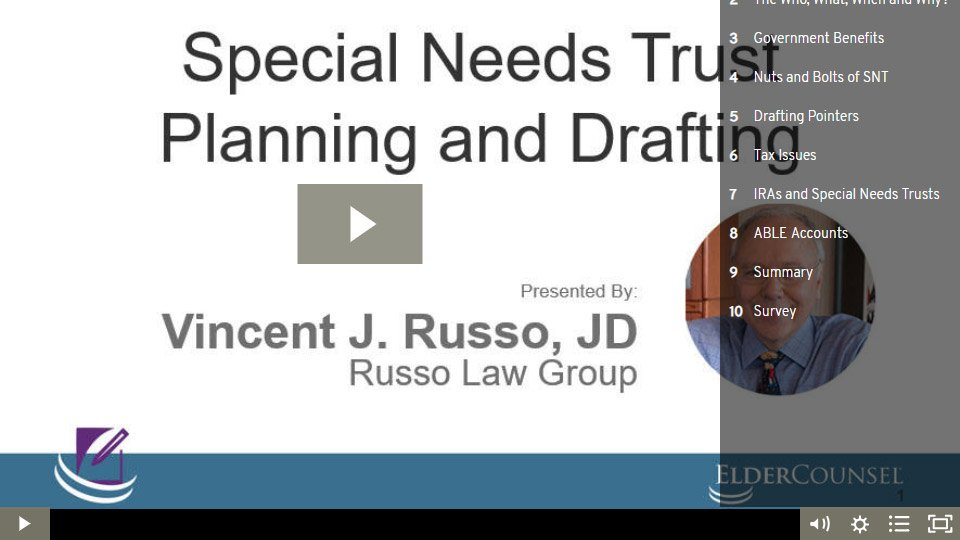 Special Needs Trust Planning And Drafting