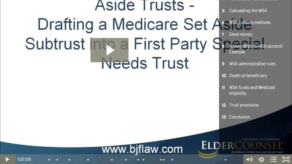 Understanding Medicare Set Aside Trusts - Part 2