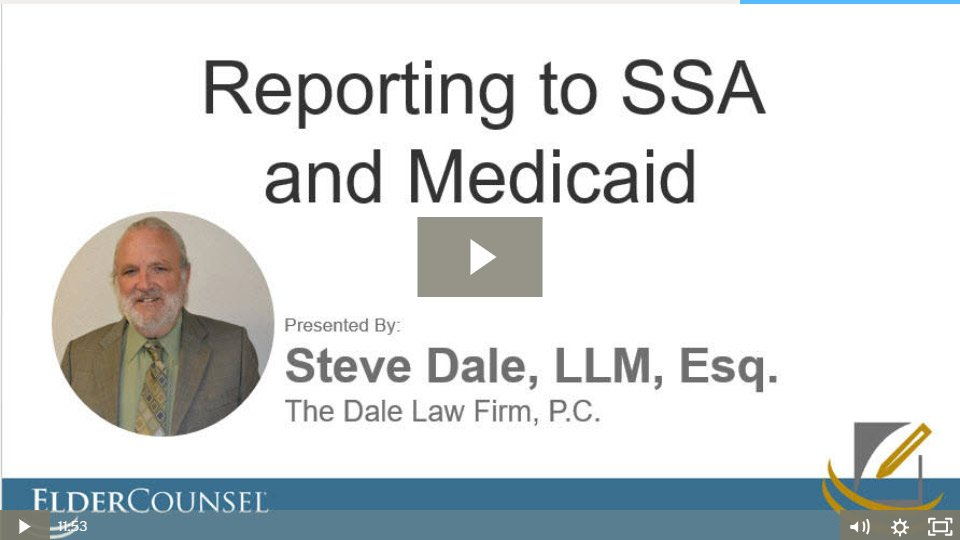 Reporting To The Social Security Administration And Medicaid