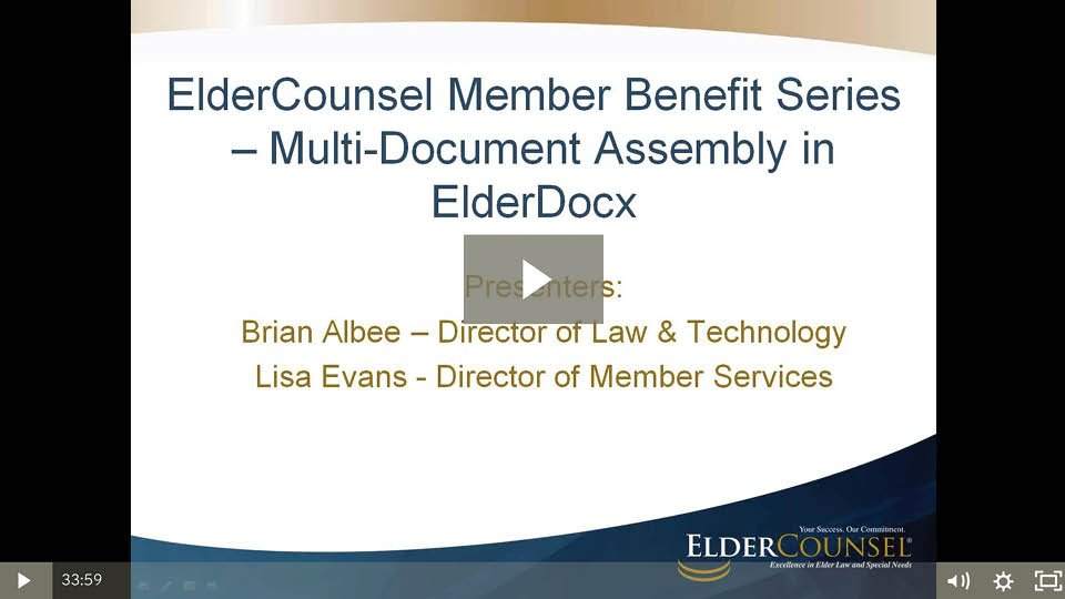 Multi-Document Assembly In ElderDocx